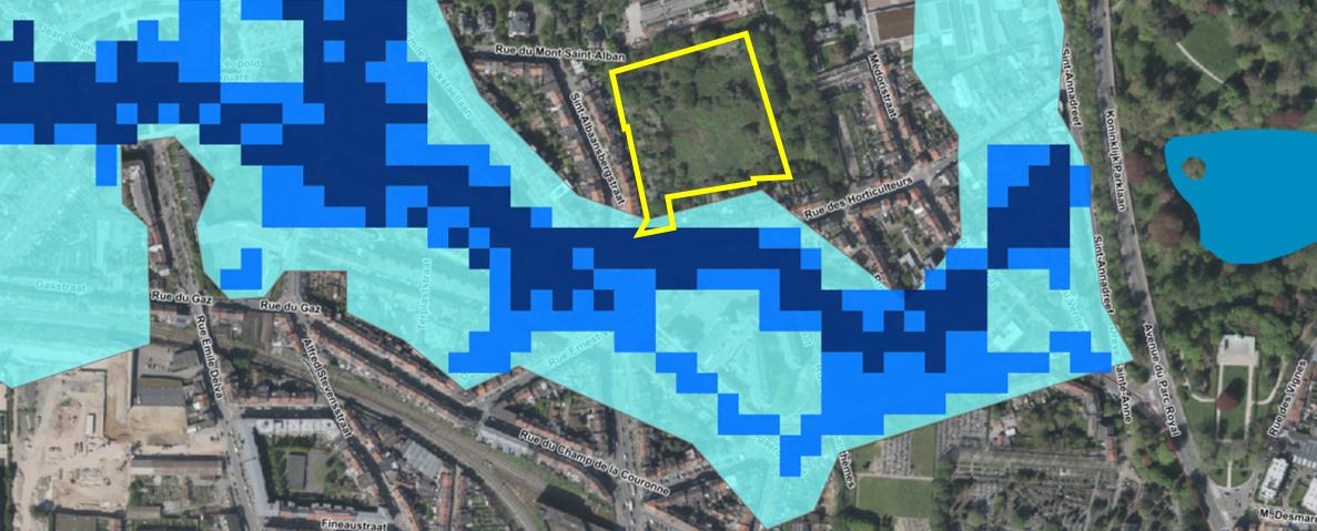 Zones inondables (source: Bruxelles-Environnement)